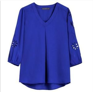 TITCH FIX Brixon Ivy royal blue blouse 3/4 sleeve